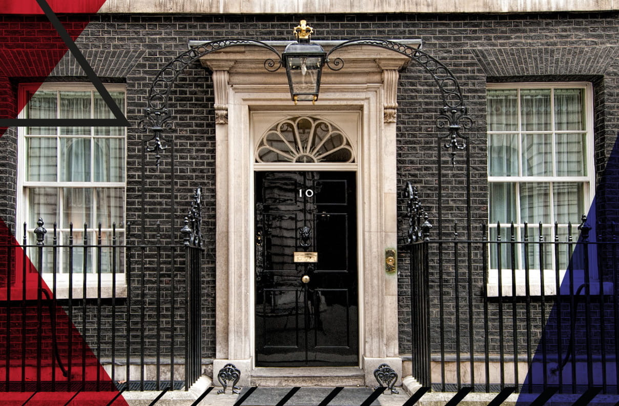 Picture of the front door of 10 Downing Street