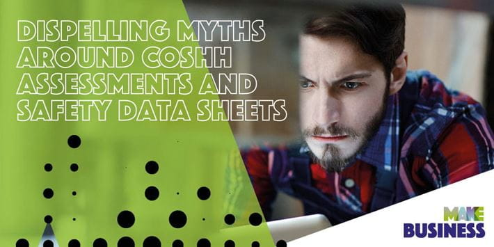 Man in check shirt staring intently. Text overlay reading: 'Dispelling myths around COSHH assessments and safety data sheets'