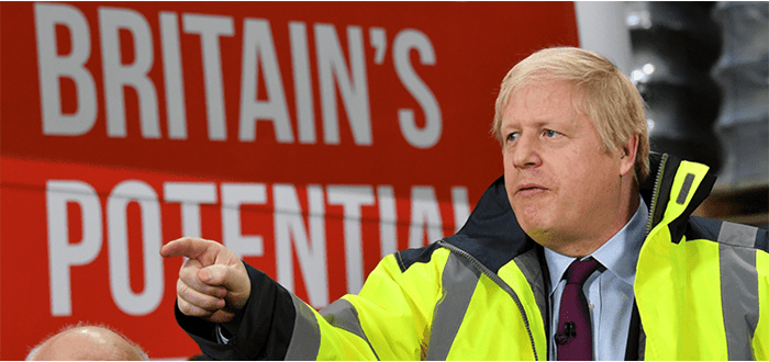 Picture of Boris Johnson wearing high visibility jacket